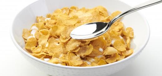 One Bowl of Corn Flakes on a White Background